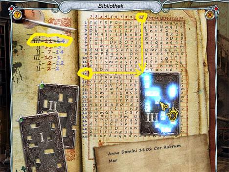 Lösung: Entschlüsseln des Buches mit den Codetafeln